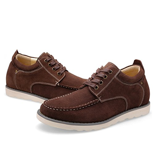 Minishion Boys Mens Hidden Heel Suede College Casual Sneakers Coffee ZH3mhS
