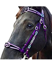 Free Size Equestrian Bridles, Multi-Color English Leather Headstall Horse Reins Accessories with 2 Rope for Outdoor Training Rider Harness Equipment Tool