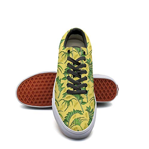 SERXO Jungle Tropical Plant Skateboard Shoes Women Fashion Sneakers 2018 (Skateboard Oak Shoe)