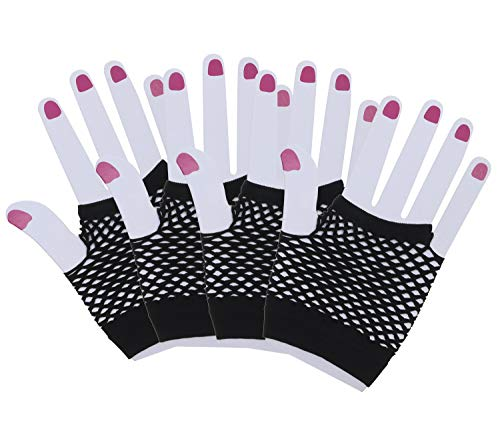 Black Fishnet Glove - Penta Angel 2 Pairs Black Nylon Fingerless Fishnet Gloves Wrist Stretch Mesh Gloves for 80's Theme Party Women Girls Costume Accessories(Short-Black)