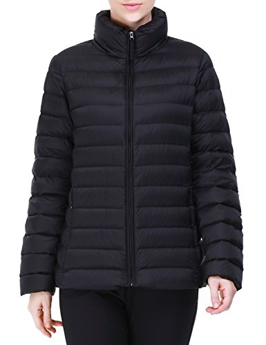Puredown Women's lightweight Packable Goose Down Jacket, Black, X-Large ()