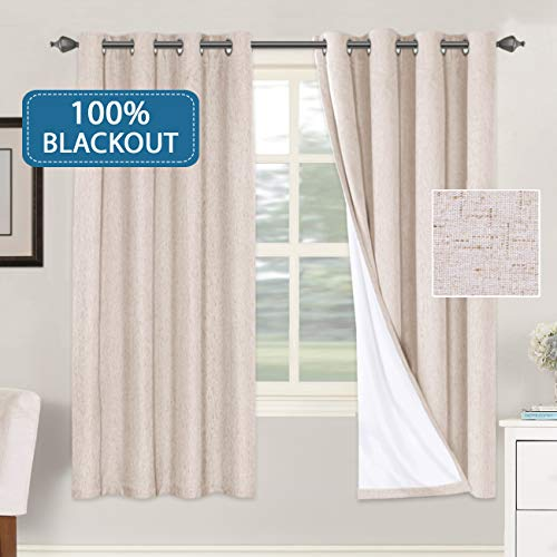 Primitive Linen Curtains 100% Blackout Curtain Drapes Burlap Fabric Curtains with White Thermal Insulated Liner, Grommet Top Curtains Living Room/Bedroom (2 Panels, 52 x 72 Inch, Natural)