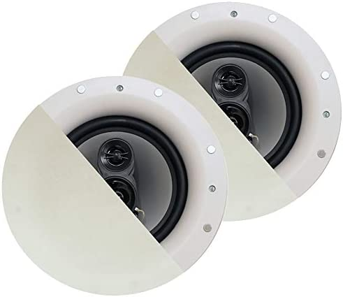 Acoustic Audio by Goldwood CSic84 Frameless in Ceiling 8″ Speaker Pair 3 Manner Dwelling Theater Audio system, White
