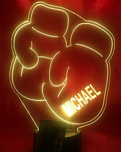 Boxing Gloves Light Up Light Lamp LED Free Engraved Custom Name Personalized Boxing Sports Table Lamp, With Remote, 16 Different Color Options, Dimmer, It's WOW, Great Gift