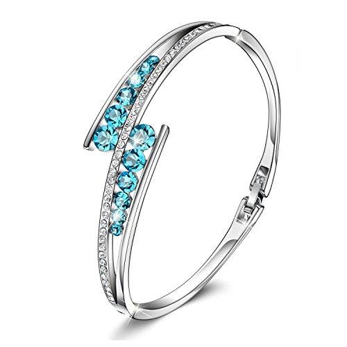Menton Ezil ''Love Encounter Sapphire Blue Swarovski Bracelets Woman Bangle 7'' Charm Tennis Jewelry by Menton Ezil (Image #1)