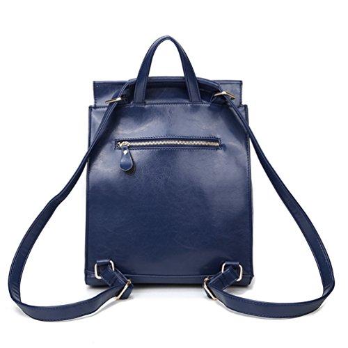 NiSeng Damen Rucksack Pu Leder Schulrucksäcke Tasche Backpack Casual Rucksack Handtasche Reiserucksack Blau