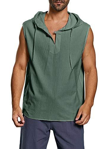 Taoliyuan Men Lace up Sleeveless Shirt Linen V Neck Casual Summer Beach Pool Party Yoga Tank Top (Medium, D-Green)