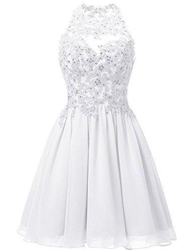 JYDress - Vestido - trapecio - para mujer blanco