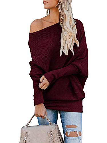 Gemijack Womens Sweaters Off The Shoulder Ribbed Cashmere Oversized Pullover Dolman Knit Tops Burgundy