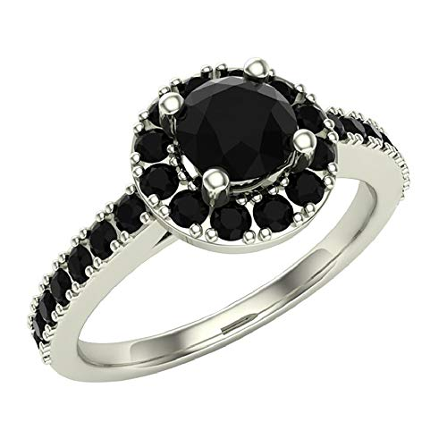 Black Diamond Halo Ring 1 Carat Total Weight 14K White Gold (Ring Size 9) (1 Carat Black And White Diamond Ring)