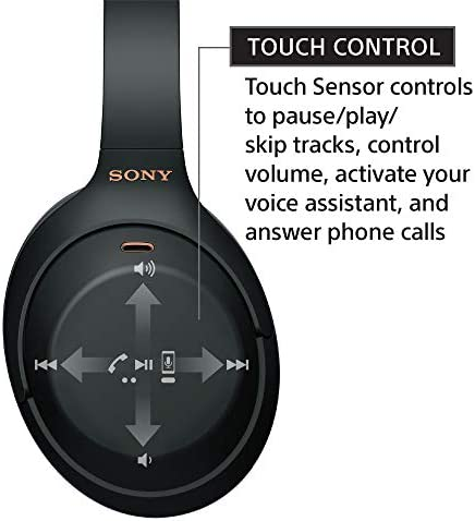 Sony WH-1000XM4 Wireless Industry Leading Noise Canceling Overhead Headphones with Mic for phone-call and Alexa voice control, Black 41Bir1yHzyL