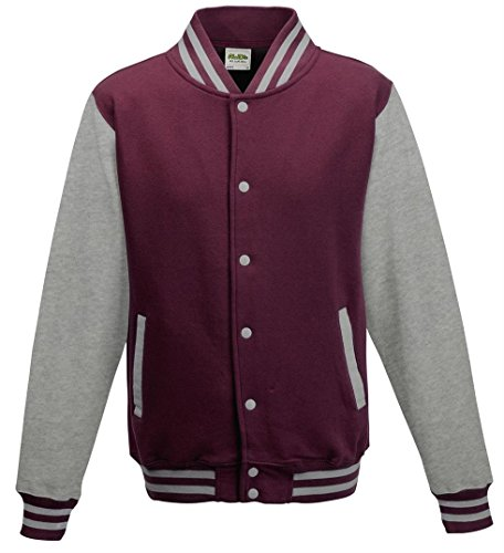 AWDis Hoods Varsity Letterman jacket Burgundy / Heather