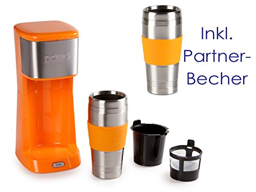 Domo-Partner-Cafetera-elctrica-Coffee-to-go-2-Vaso-Trmico-400-ml-cada-uno-color-naranja