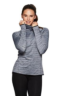 RBX Active Women's Lightweight Fleece Waffle Cowl Neck Sweatshirt