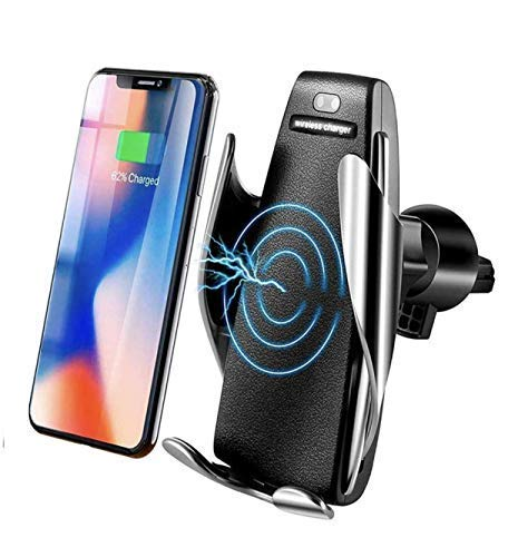 Wireless Car Charger, Smart Car Mount IR Intelligent Sensing Auto Clamping 10 W Fast Charging Air Vent Mount Holder for iPhone Xs Max/XR/X/8/8Plus Samsung S9/S8/Note8 & Qi-Enabled Device (Black)