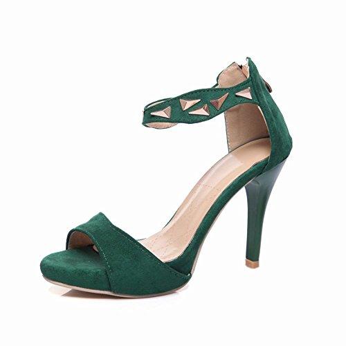 Sandali Con Tacco A Spillo Da Donna Con Zip Alla Caviglia In Pelle Verde Scuro