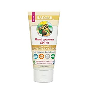 Badger All Natural Sunscreen, SPF 30, Unscented 2.9 oz (87 ml)