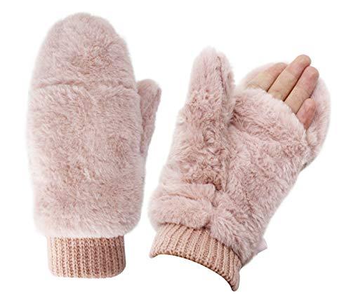 Women Winter Faux Fur Flip Cover Mittens Warm Soft Half Finger Fingerless Gloves