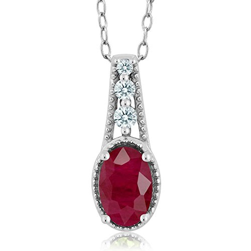 Carlo Bianca Red 925 Sterling Silver Pendant Made With Swarovski Zirconia by Gem Stone King