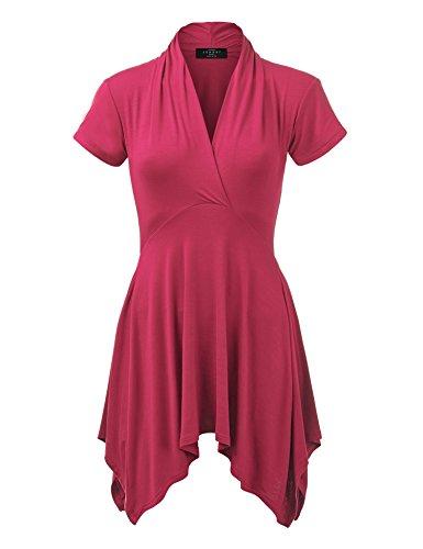 Made By Johnny WT1120 Womens Cross V Neck Short Sleeve Empire Line Panel Tunic Top XL (Empire Waist V-neck Tunic)