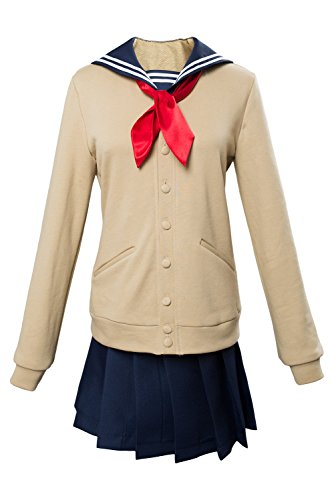 NoveltyBoy Boku No Hero Academia My Hero Academia Himiko Toga Cosplay Costume Cross My Body Outfit (Female:XX-Large) Beige -