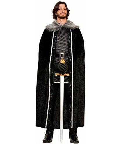 Long Warrior Medieval Costumes Wig (Fur Trimmed Cape Adult Costume Black - Standard)