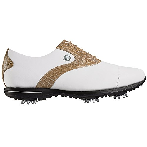 FootJoy Women's Tailored Collection Golf Shoe White/Cream Crock Print Size 9 M US