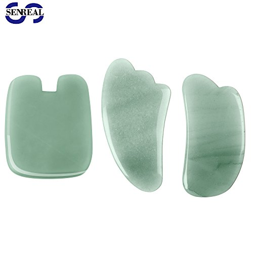 SENREAL 3pcs Jade Massage Tool Guasha Board Stones Set Face Back Foot Scalp Scraping Tool - Jade Stone Massage