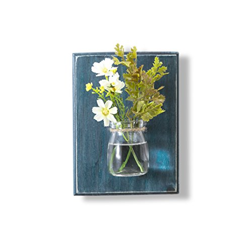 WOOD MEETS COLOR Wall Vases, Creative Handcrafted Hanging Vases, Wall Planter, Flower Container, Home Decoration, Without Flower(Ocean Blue) - Shabby Chic Wall Decor