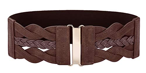 Women Wide Elastic Stretchy Blelt Coffee Retro Waist Cinch Belt