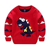 Iuhan  Clearance Baby Dinosaur Sweaters - Boys Girls Kids Long Sleeves Dinosaur Cartoons Sweaters Soft Warm Coats Tops Blouse (18-24Months, Red)