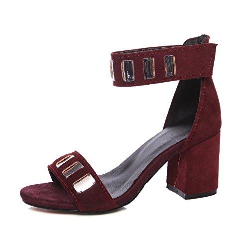 Punainen Aiweiyi Alustan Roomalaistyylinen Korkokenkiä Naisten Strappy Paksu Sandaali Sandaalit Mekko HFzHq
