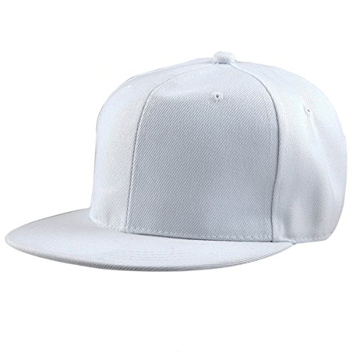 Samtree Women Men Snapback Hats,Patchwork Solid Color Flat Bill Baseball Cap(01-White)