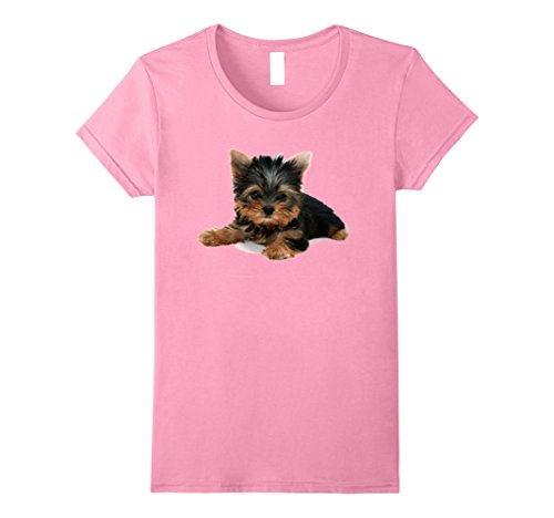 Womens Yorkie Yorkshire Terrier Puppy T-Shirt Large Pink