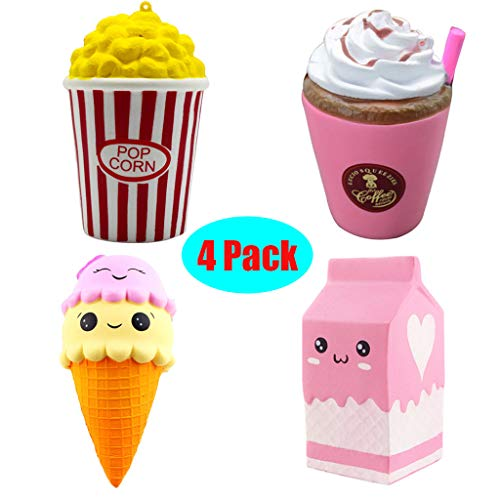 Chercherr Fun Toy, Soft Elastic Environmentally PU Adorable Squeezable Kawaii Jumbo Milk Carton+Cartoon Cake Super Slow Rising Stress Reliever Lovely Decoration Toy Best Gift for Kids Adults. ()