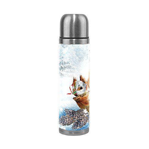 DEYYA Animal Squirrel Vacuum Insulated Stainless Steel Water Bottle , Double Walled Construction Portable Thermos Water Bottle Cup, Keeps Your Drink Hot & Cold | 17 Oz (500 ml) by DEYYA