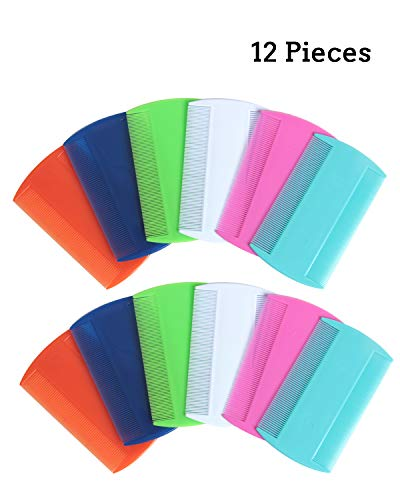 Plastic Flea Comb - SBYURE 12 Pack Flea Lice Combs Grooming Fine Tooth Hair Combs Double Sided Health Remedies Repellent Ticks Dogs Cats