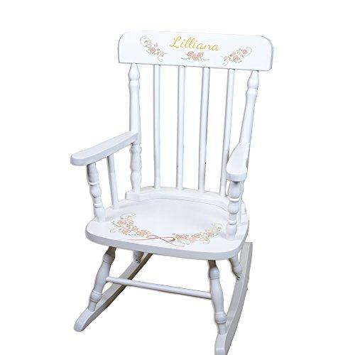 White Spindle Rocker (Children's Personalized White Garland Flower Rocking Chair)