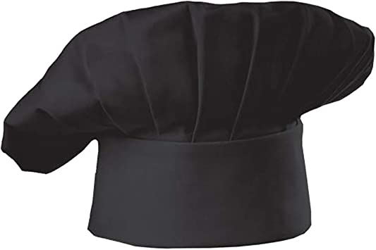 Chef Hat Skull Cap with Elastic Back for Kitchen Cooking Works Chef Cap Black