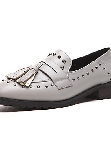 ZQ hug Zapatos de mujer-Tacón Robusto-Comfort / Punta Redonda-Oxfords-Exterior / Casual-Semicuero-Negro / Gris , gray-us8 / eu39 / uk6 / cn39 , gray-us8 / eu39 / uk6 / cn39 black-us6.5-7 / eu37 / uk4.5-5 / cn37