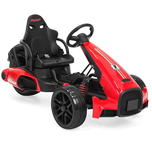 Best Choice Products 12V Kids Go-Kart Racer Ride-On Car w/ Push-to-Start Function, Foot Pedal, 2 Speeds, Spring Suspension - Red