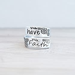Have Faith Hand Stamped Adjustable Wrap Ring