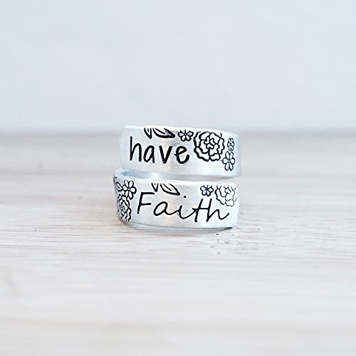 (Have Faith Hand Stamped Adjustable Wrap Ring)