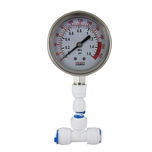 (Malida Water Pressure Gauge Stainless For Aquarium Meter 0-1.6MPa 0-220psi Reverse Osmosis System Pump With 1/4)