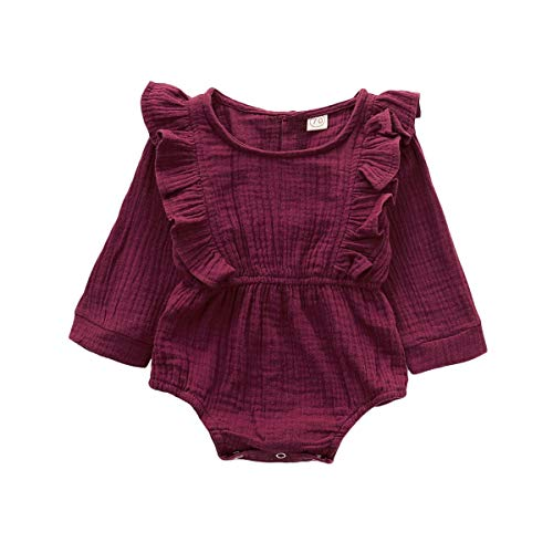 Infant Clothes for Girl Baby Girl Romper Cute Red Ruffle Long Sleeve Button Romper One Piece Jumpsuit Baby Girl Winter Outfits Bodysuit 12-18 Months