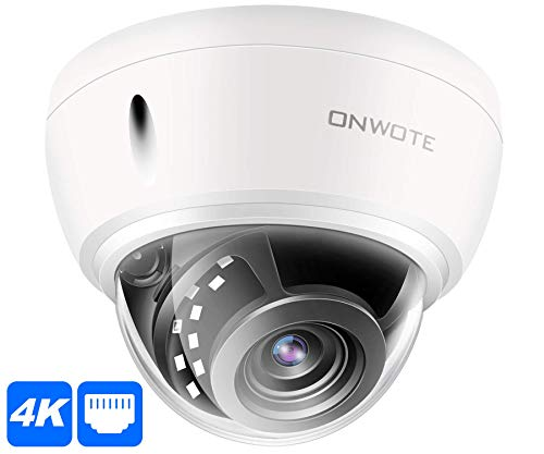 【Newest】 ONWOTE UltraHD 4K 8MP IP PoE Security Camera Dome, Hikvision Compatible, 3840×2160 8-Megapixel, Indoor/Outdoor, 100ft NightVision, 110° View Angle, IP66 Weatherproof, Vandalproof, Onvif