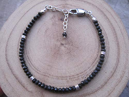 Black Tourmaline Bracelet,Bead Size 3 mm,Karen hill tribe silver bead, Size 6.5 inches 925 Sterling silver chain extender 1 inch, BBTTK