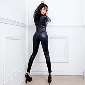 - 41Biw61 YAL - Women Sexy Faux Leather Wet Look Zipper Catsuit One Piece Metallic Crotchless Bodysuit Clubwear