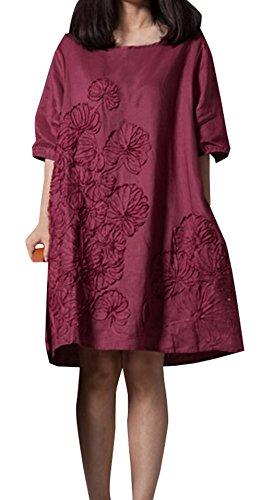 785075f0cc82 Sommer Knielang Kleid Damen Freizeit Locker Rundhals 3 4 Arm Shirt Kleider  Strandkleider Mode Leinen Bestickt