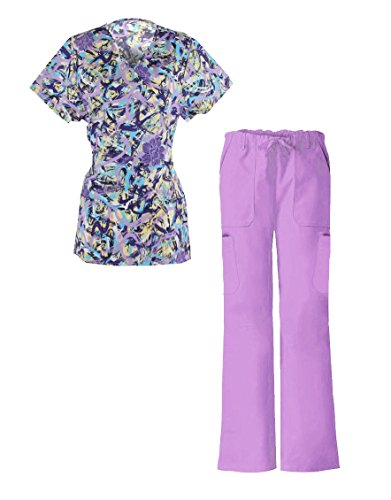 G Med Women's Mock Wrap Printed Top and Pant Scrub Set 2 Pieces Set Back Tie(SET-MED,LPL-XL)